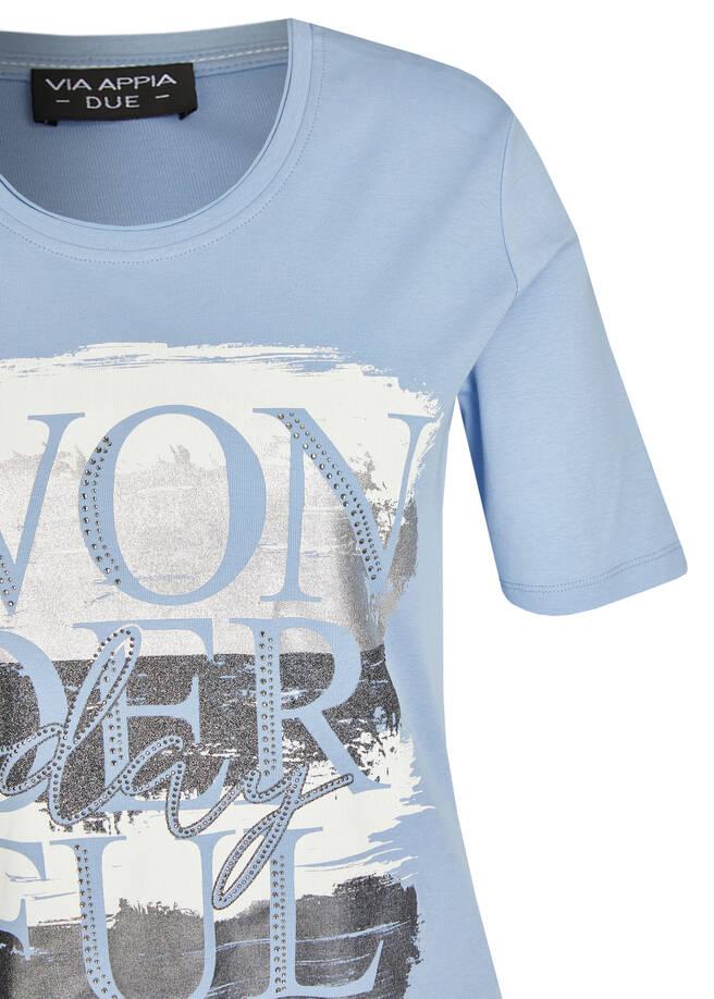 Zeitloses T-Shirt mit Schmucksteinen /