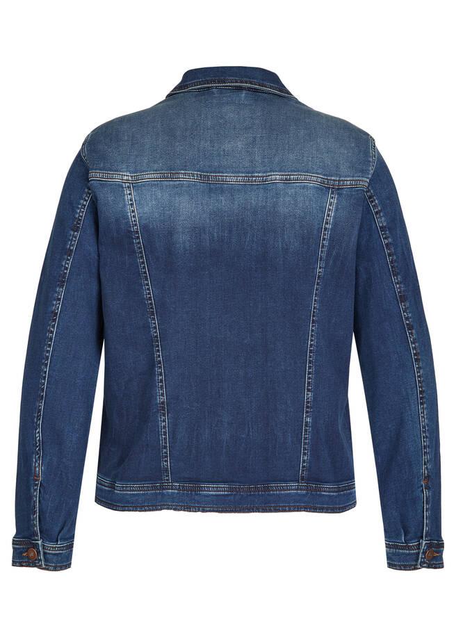 Jeansjacke mit unifarbenem Stoff /