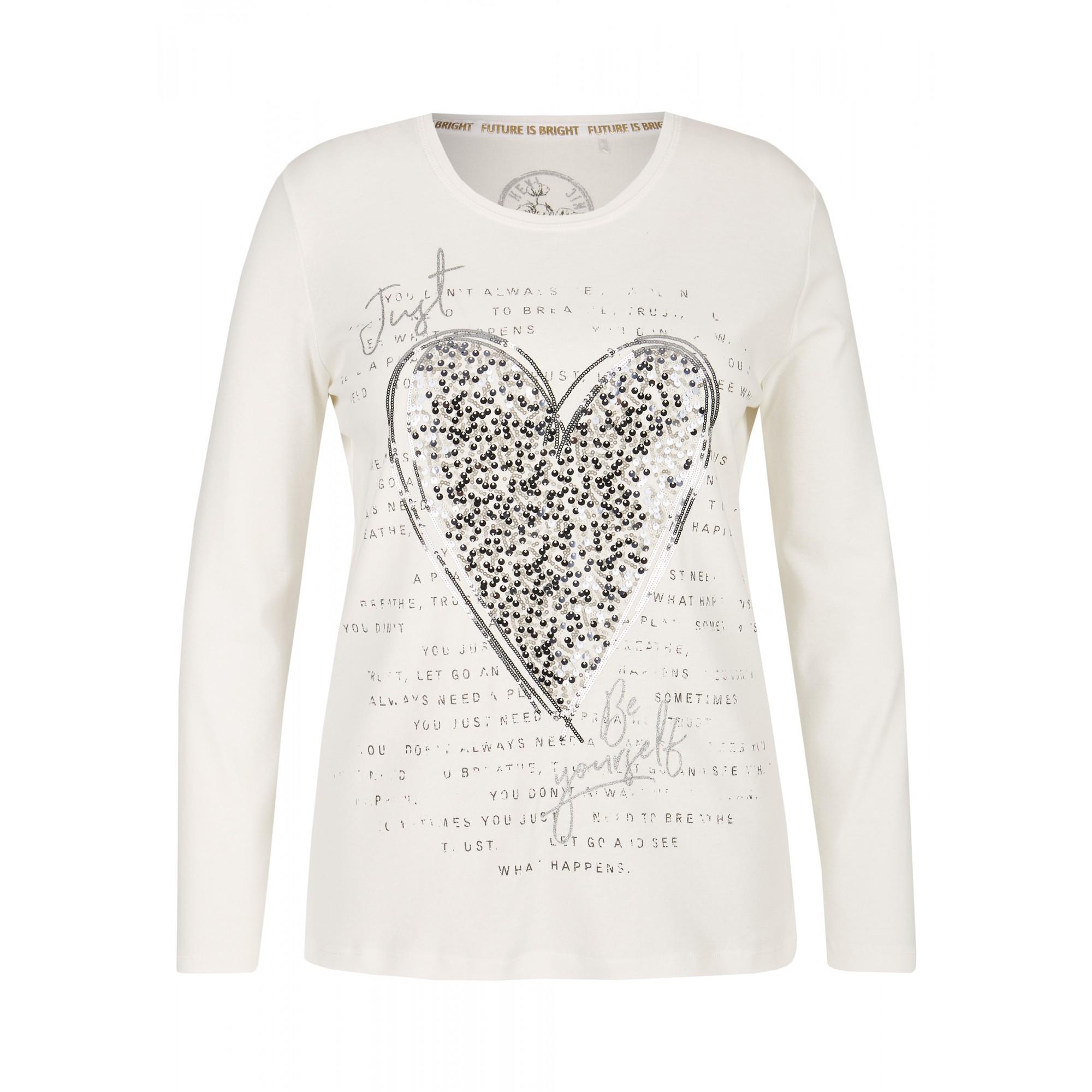 - Blickdichtes White Shirt mit geschmücktem Herz