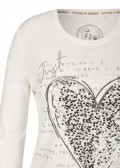 Blickdichtes White Shirt mit geschmücktem Herz /