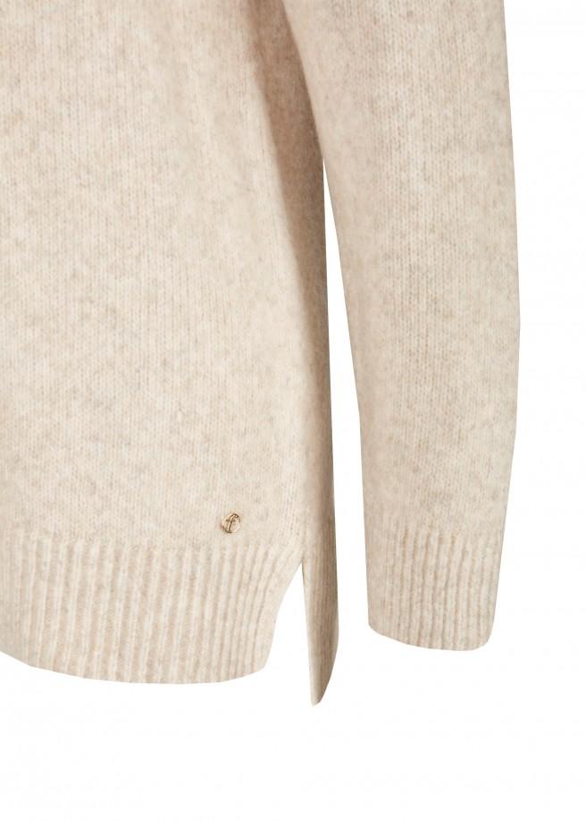 Edel-lässiger Long-Pullover mit Rollkragen /