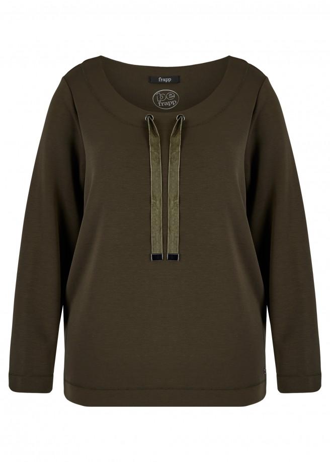 Softes Sweatshirt in Waldgrün mit Schmuckbändern /