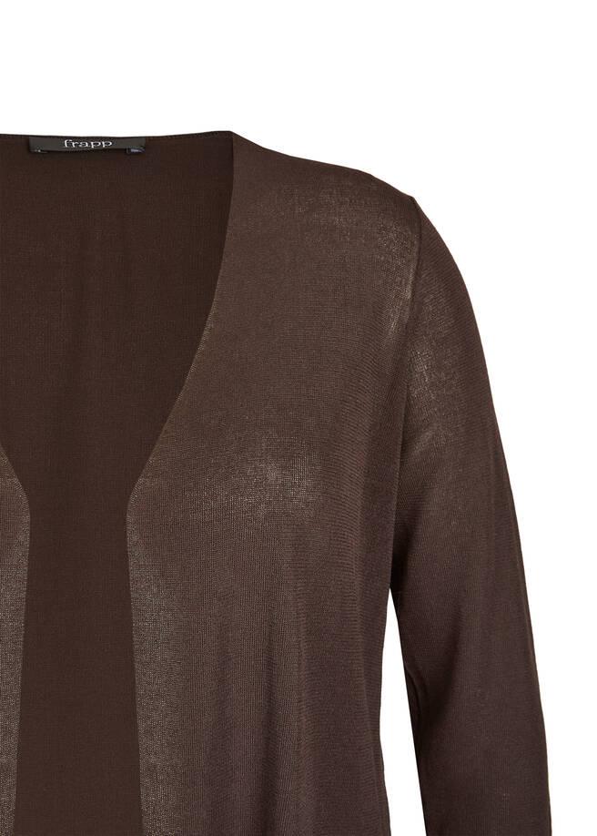 Long-Cardigan mit Transparent-Einsatz /