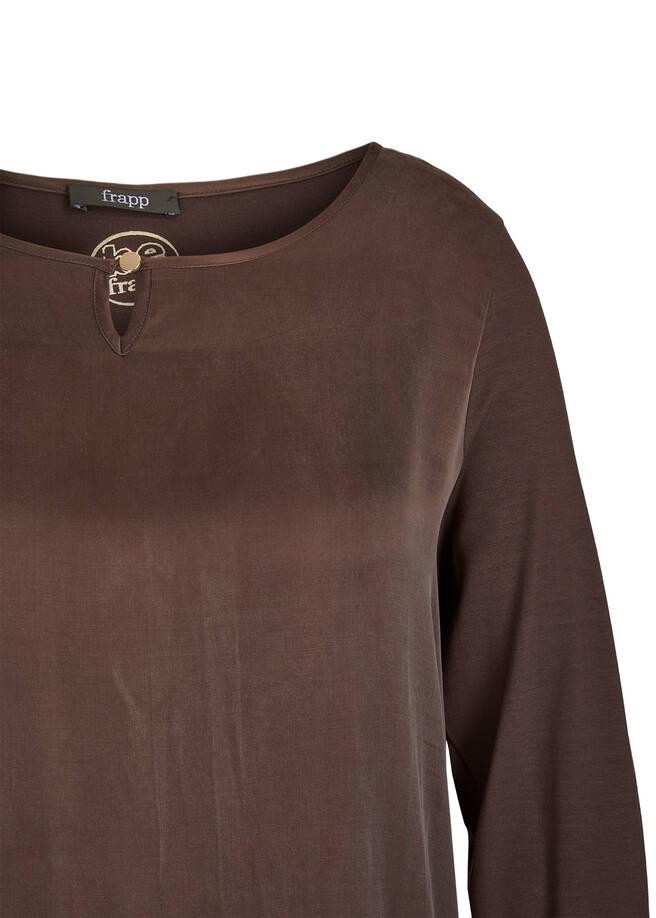 Schimmernde Shirtbluse mit Knopfdetail /