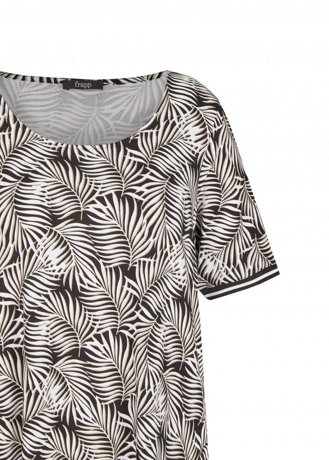 Extrovertiertes T-Shirt mit Farn-Print /