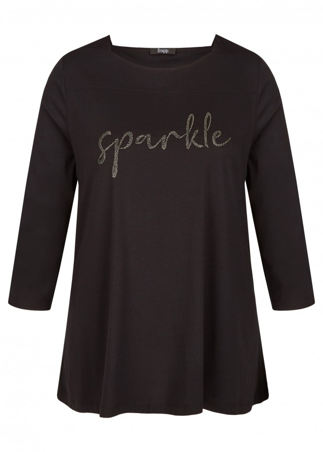 "Unifarbenes Shirt mit Wording ""sparkle"" /"