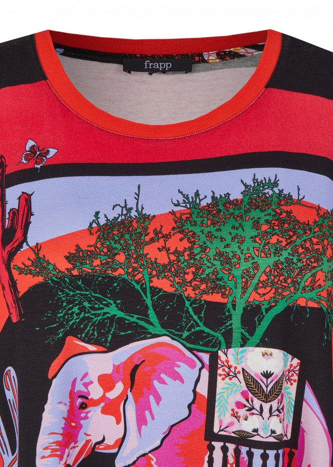 Extravagantes T-Shirt mit buntem Motiv /