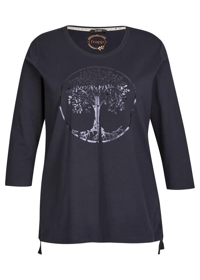 Glänzendes 3/4-Arm-Shirt mit Bindebändern /