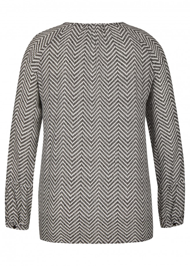 Modische Langarm-Bluse mit Zick-Zack-Muster /