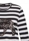Modisches Ringel-Shirt mit Leopard aus Pailletten /
