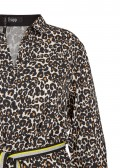 Trendbewusstes Hemd-Kleid mit Gürtel und Leo-Muster /