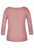Feminines T-Shirt mit geschlitzten 3/4-Ärmeln und Allover-Ringeln /