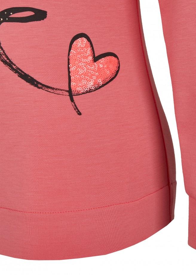 Verspieltes Sweatshirt mit Kapuze, Print und Paillettenherz /