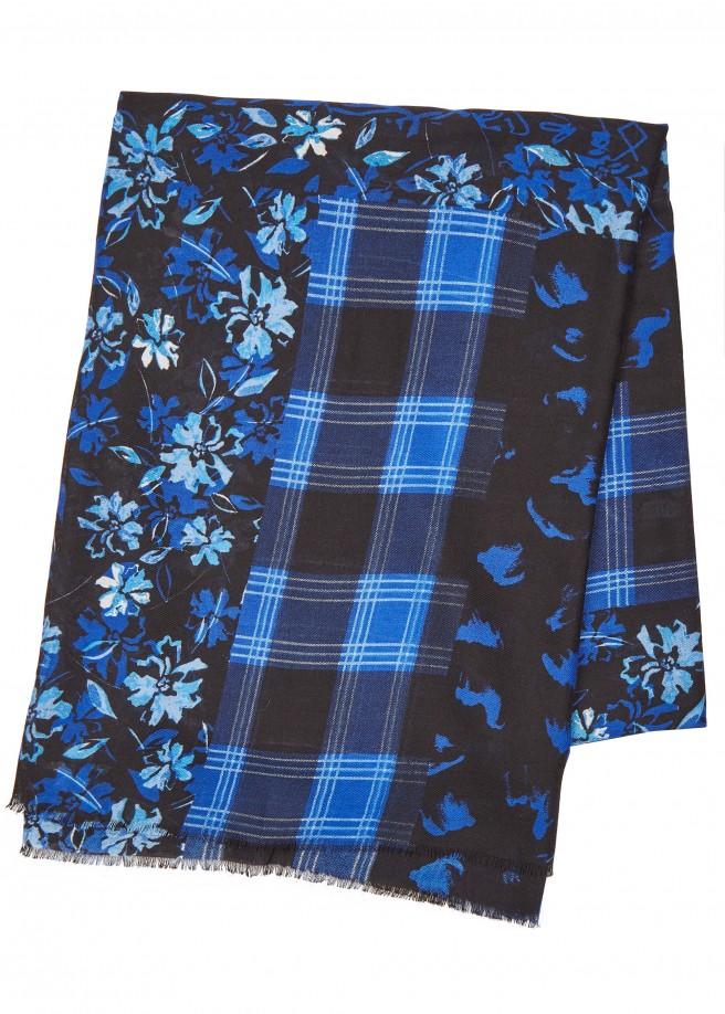 Anmutiger Schal mit Karo- und Blüten-Muster /